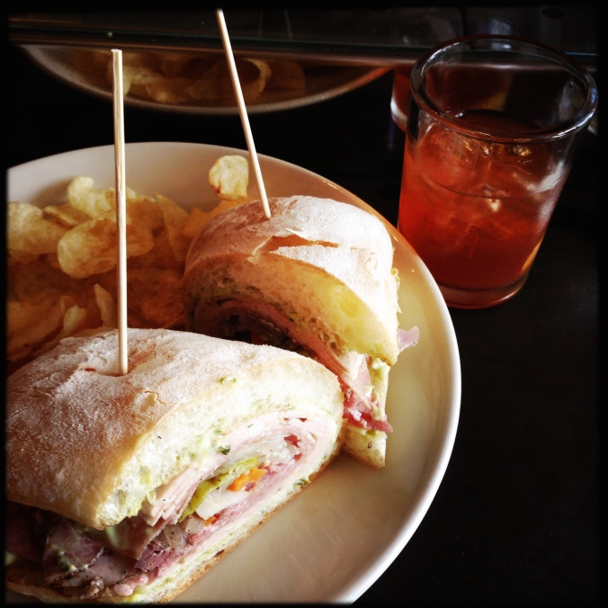 Mortadella and Old Fashioned from Olympic Provisions..